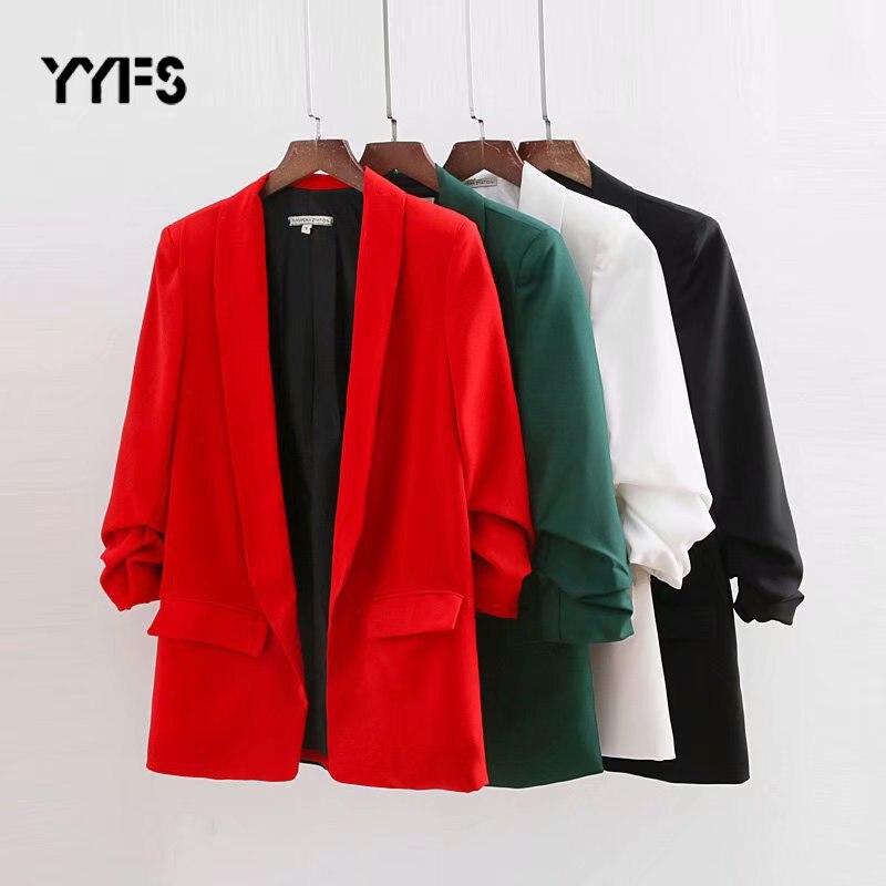 Blazer Women 2019 Autumn High Street Long Sleeve Female Casual Outwear Solid Color Jackets Casual Blazer Mujer Fashion Coats