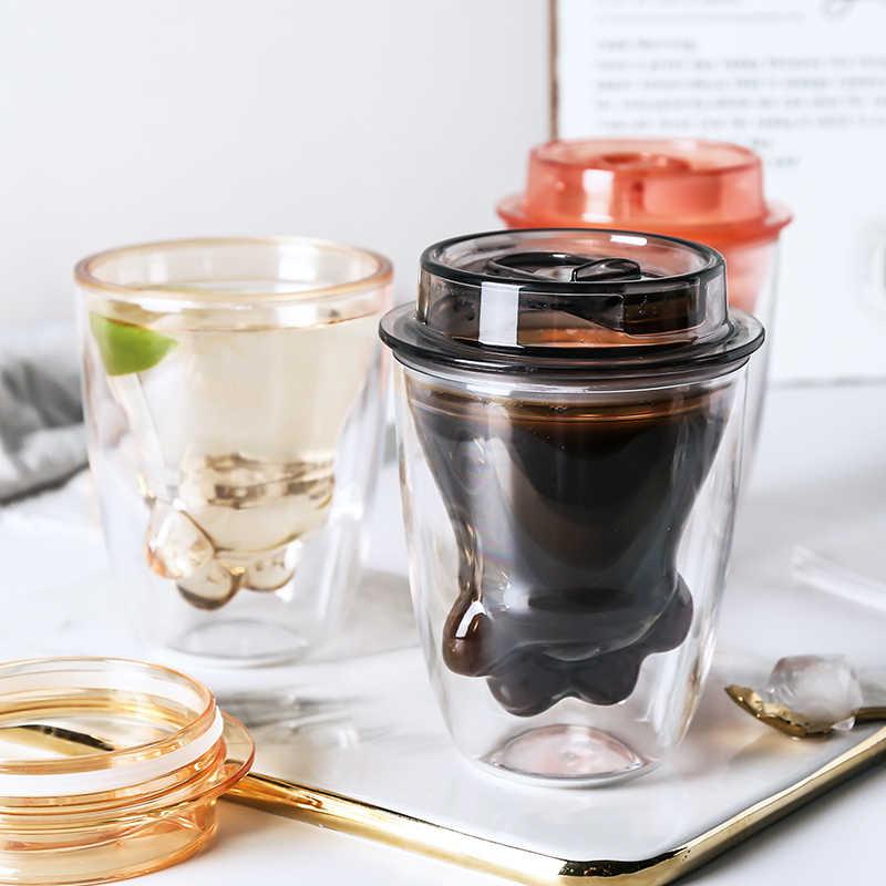 חתול טופר כוס עם מכסה קפה כפולה מבודדת נטו אדום מים כוס תוספות המגמה הנייד ביתי חלב כוס ארוחת בוקר כוס בקבוקים