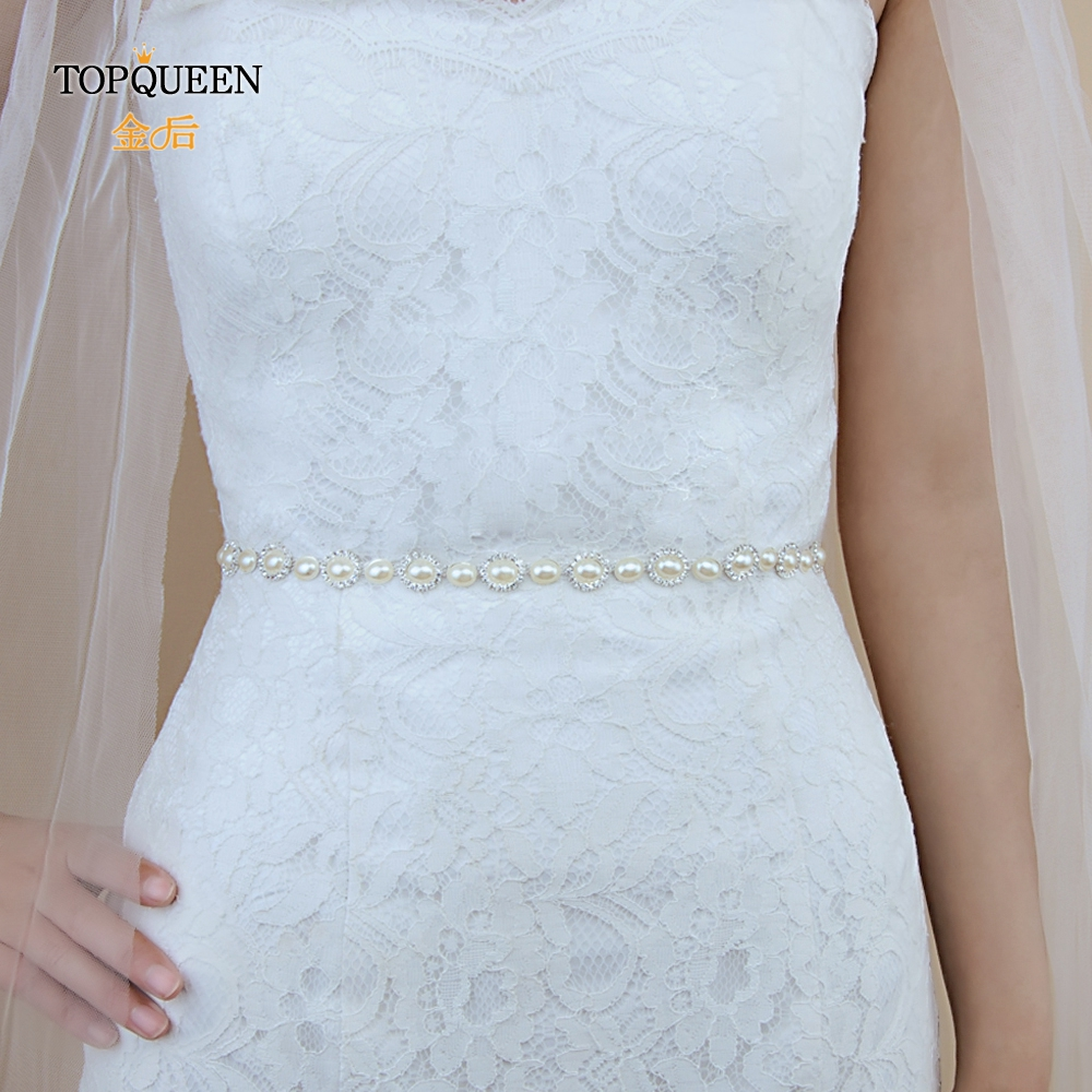 TOPQUEEN S300 Wedding Belts Rhinestones Wedding Sashes For Girl Pearl Bridal Belts Bridal Sashes Fast Delivery