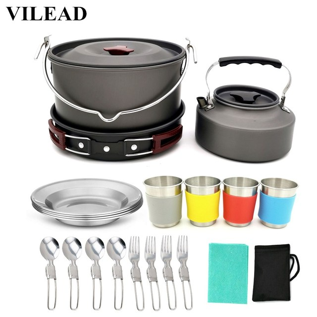 VILEAD 19pcs 4 Persons Camping Cookware Set Hanging pot Pan Cup Teaport Outdoor Cooking Portable Folding Tableware Picnic Set