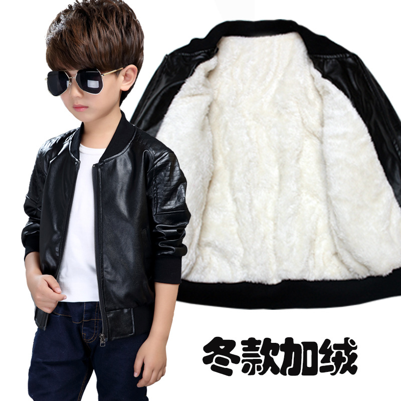 Kids outerwear 2018 Autumn Winter Baby Boys Warm Coat Children Faux Leather Coats Outerwear Boy Clothing 8 10 12 14 Years-in Jackets & Coats from Mother & Kids