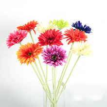 7pcs Artificial gerbera Silk Flower for Home Decoration & Wedding Mini Gerbera red Pink White Polychromatic long 55cm(China)