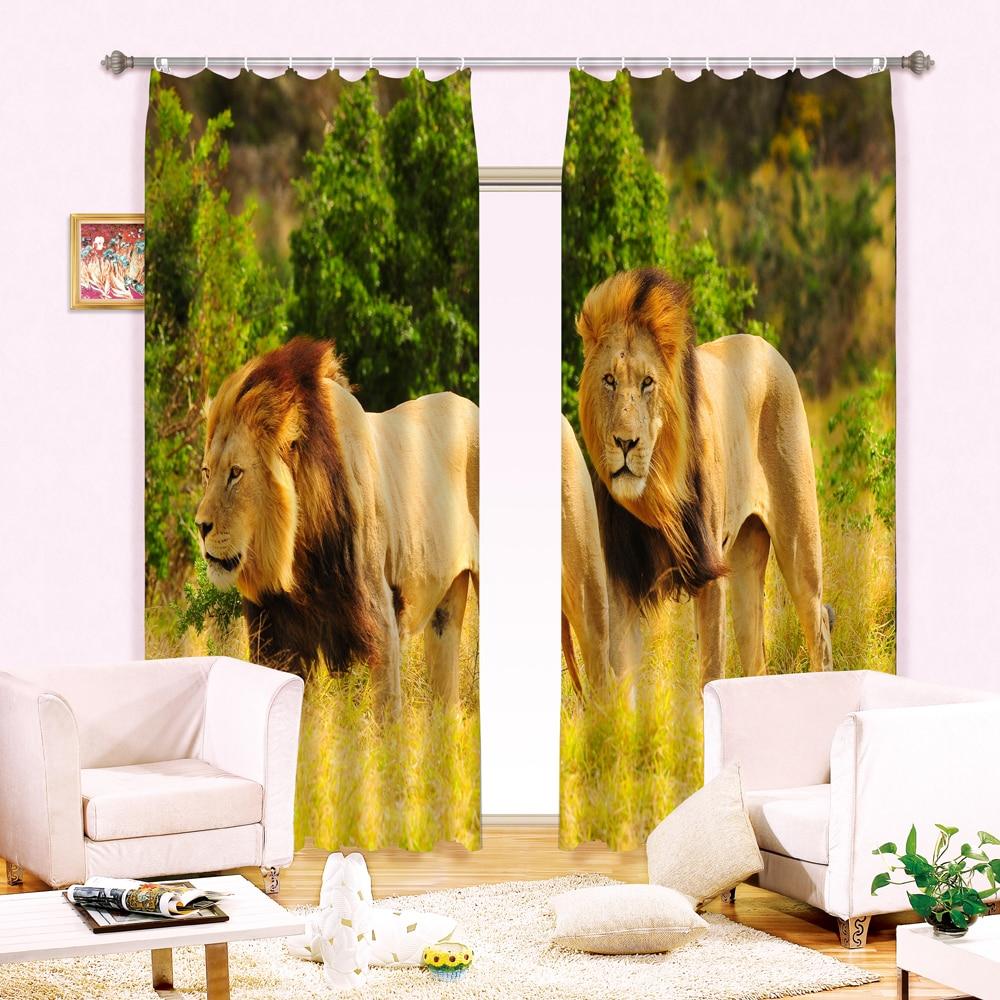 Lion dans le coucher du soleil impression lumière bloquant rideau 3D