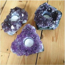 Natural Rough AMETHYST CRYSTAL CLUSTER TEA LIGHT CANDLE HOLDER GEODE Purple Quartz candlestick HEALING NEW AGE PAGAN