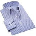 2016 Para Hombre Azul/Raya Blanca Camisa Oxford Regular Fit Algodón de Manga Larga Blend Unelastic Botón Formal de Negocios-Camisas