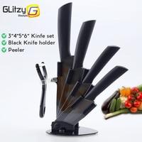 3 4 5 6 Inch Knife Holder Peeler Ceramic Knife Set Black Blade Zirconia Colorful Handle