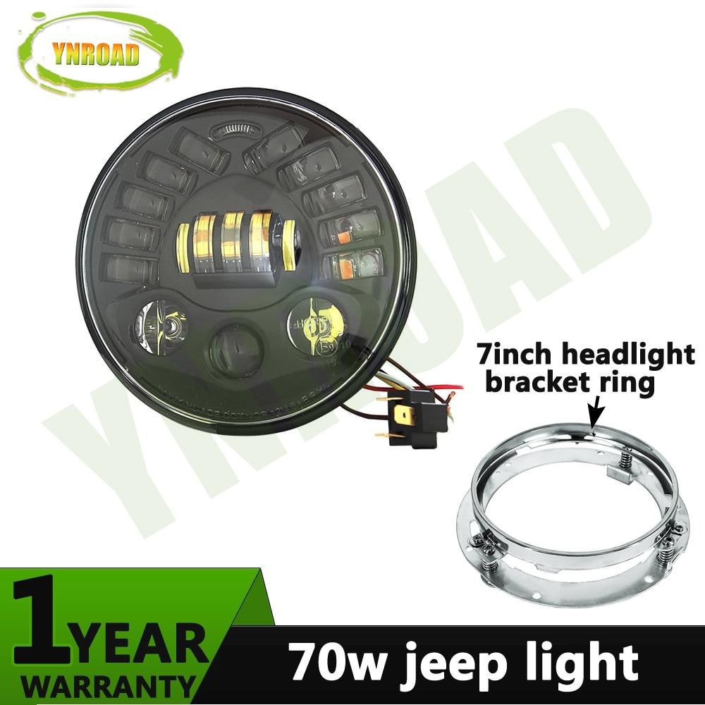 YNROAD круглый 7-дюймовый 70ВТ левый и правый поворачивая свет светодиодная фара с 7-дюймовый кронштейн кольцо для мотоцикла Harley