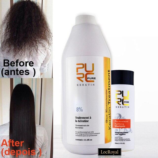 Бразильский кератин лечение выпрямления волос по уходу за волосами комплект 8% фиксированных формалином парафином кератин и 100 мл глубоко очистительные шампунь