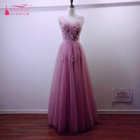 Real Photos V Neck Sleeveless Lace Appliques Flowers Beads Pearl Pink Tulle Prom Dresses 2017 Lace