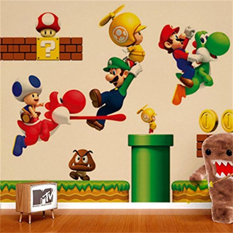 recuerdo de la infancia juego de super mario etiqueta de la pared para nios sala de