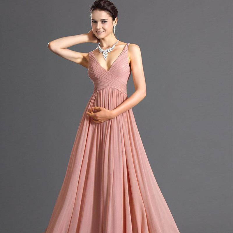 f7199aec689 Women Pink Dress Spaghetti Strap Chiffon Summer Fashion High Quality  European Sexy Backless V neck Sleeveless Long Party Dresses-in Dresses from  Women s ...