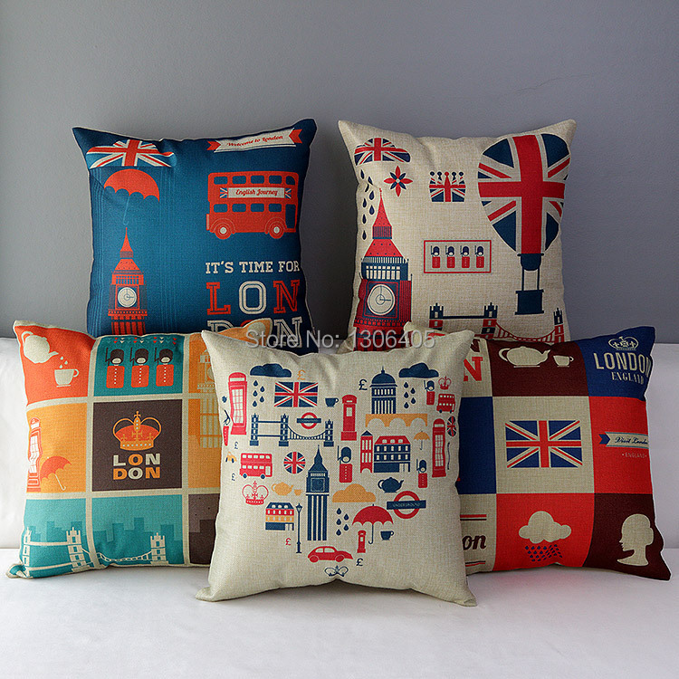 18 Linen Cotton England Cushion Cover /British Pillow Cover /Decorative Sofa Pillow case 45x45cm