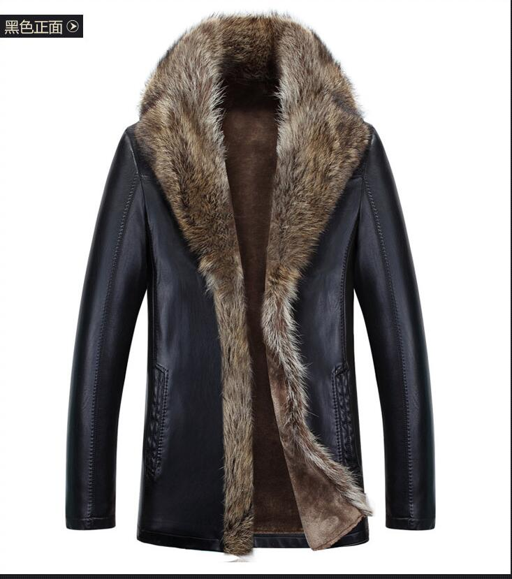 S-4XL fur mens leather jacket winter 2016 new fashion Genuine Leather 100% overcoats Hot motorcycle jacket thick warm MA025