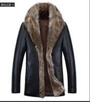 S 4XL fur men's leather jacket winter 2016 new fashion Genuine Leather 100% overcoats Hot motorcycle jacket thick warm MA025