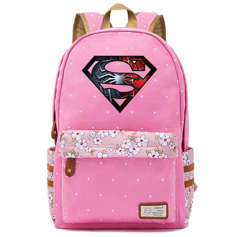 Deadpool Superman Hulk Heran Wanita Bunga Dot Gadis Tas Sekolah Wanita Bagpack Remaja Tas Sekolah Kanvas Wanita Femme Ransel 9