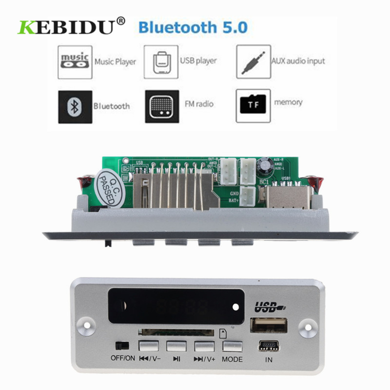 KEBIDU Bluetooth5.0 MP3 Decoding Board Module Wireless Car USB MP3 Player TF Card Slot / USB / FM / Remote Decoding Board Module