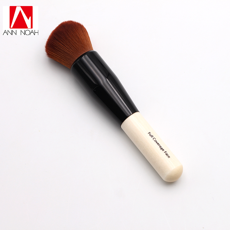 Professional Portable Short Wood Handle Dense Soft Synthetic Hair Full Coverage Face Makeup Powder Brush portable handle bidirection vascular