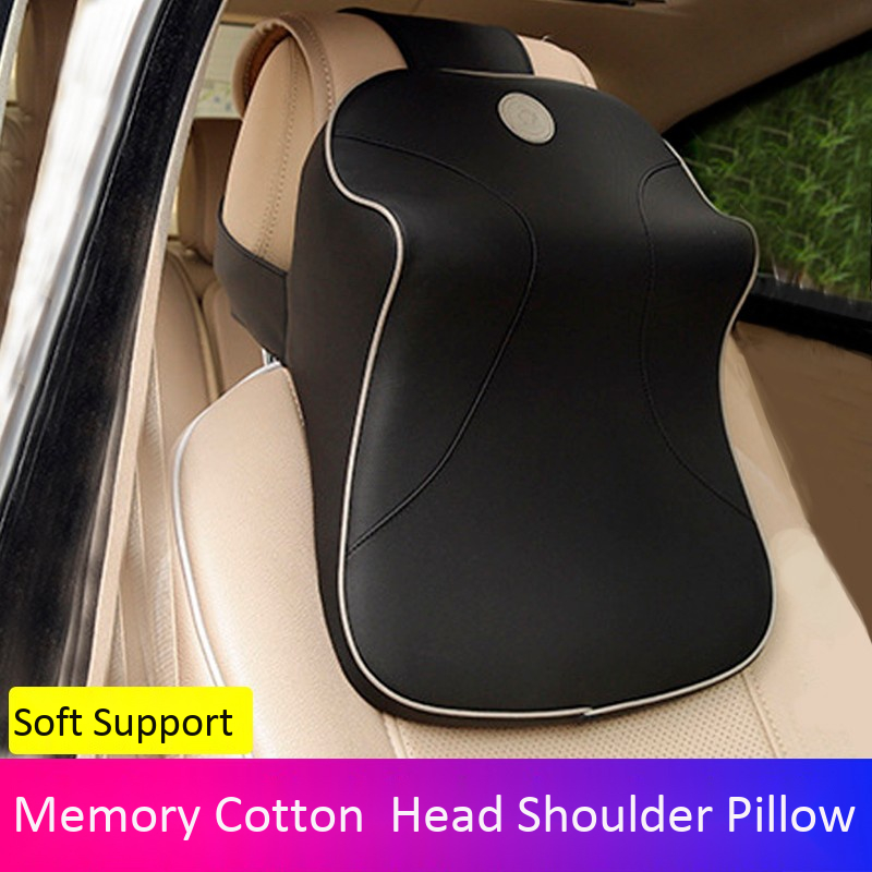 Image 5 - Leather+3D Memory Foam Car Neck Pillow Adjustable Head Restraint Auto Headrest Travel Pillow with For Renault Volvo Citroen-in Neck Pillow from Automobiles & Motorcycles