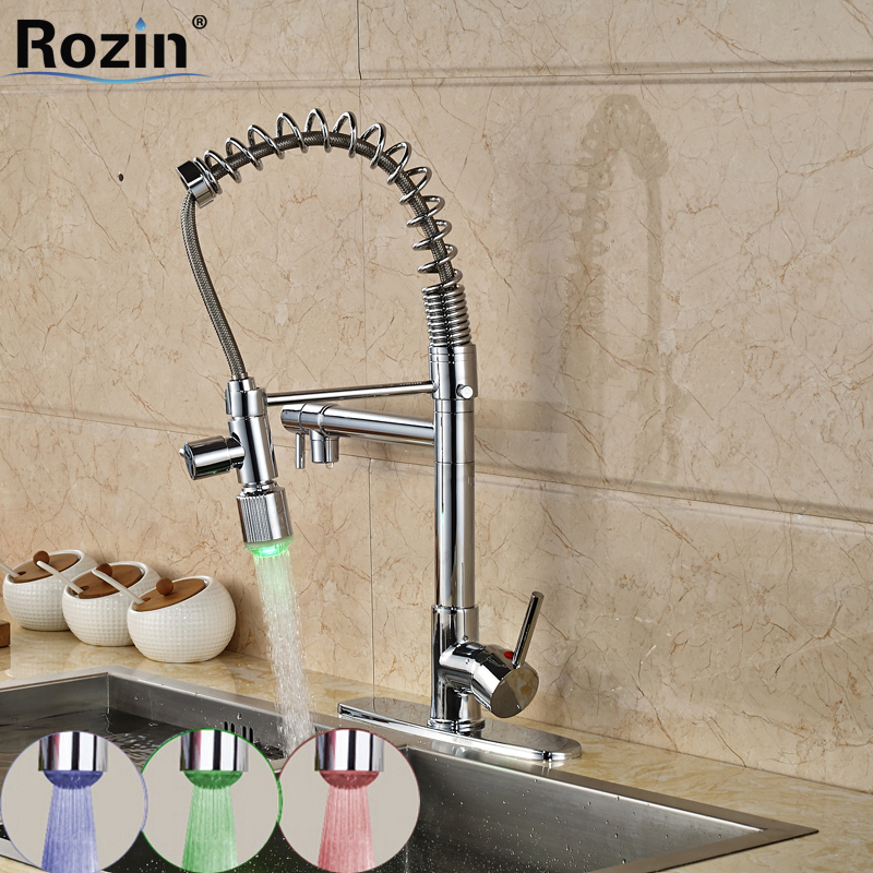 Chrome Finish Pull Down Kitchen Spring Faucet Two Spouts with LED Light Mixer Taps new deck mount pull out kitchen faucet two swivel spouts spring mixer tap chrome finish single handle faucet