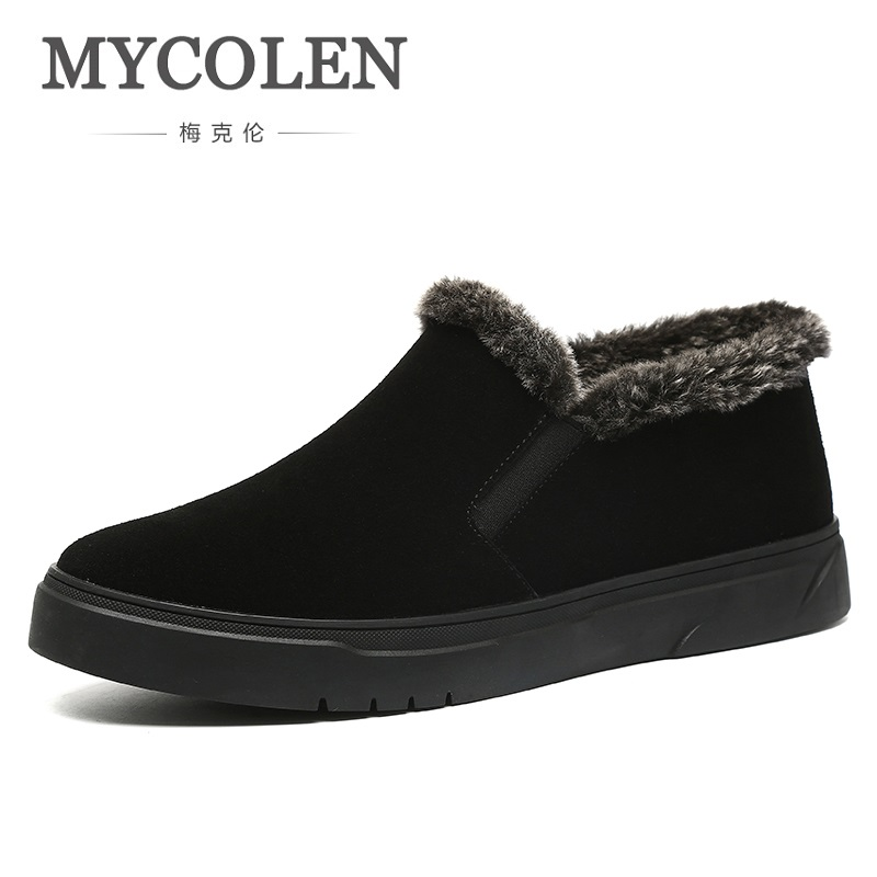 MYCOLEN 2018 Winter Men Snow Boots Men Leather Shoes High Top New Fashion Men Shoes Casual Warm Ankle Boots Botas Masculino plus size 46 mens casual high top shoes winter warm plush ankle boots men shoes outdoor fashion cotton shoes mountain zapatos