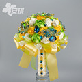 Colorful Wedding Accessories Bridal Bouquet 2016 Real Image Hand Made Flower Crystal Beads Fashion Cheap Sexy Wedding Bouquet
