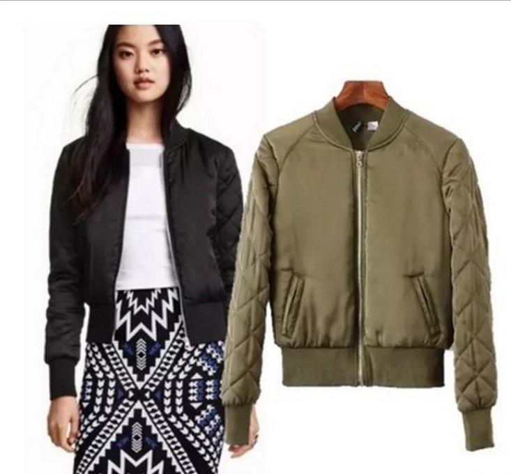 Women Basic Coats Quilting Cotton Bomber Jacket Women Quilted Zipper