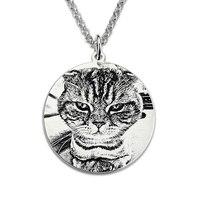 Wholesale Pet Photo Engraved Necklace Custom Sterling Silver Picture Necklace Photo Engraved Jewelry