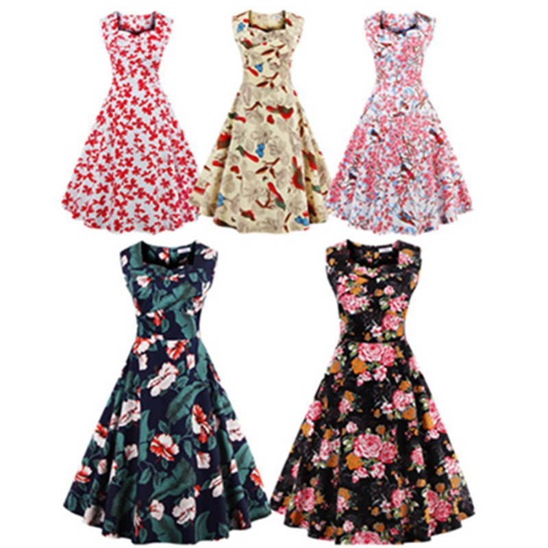 Sexy Retro 1950s 60s Sexy Dresses Women Summer Rockabilly Dress