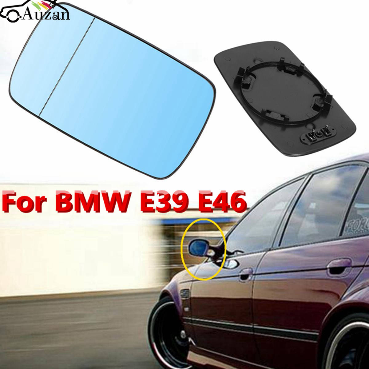 Left And Right Side Heated Blue Wing Mirror Glass For BMW E39 E46 1998 2005