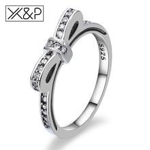 afac5c52b3fe92 X & P moda śliczne koreański Bowknot do układania w stos srebrny kryształ  pierścionki dla kobiet zaręczyny ślub sześcienne za po.