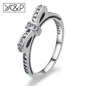 X&P Silver Crystal Rings for Women Engagement Jewelry