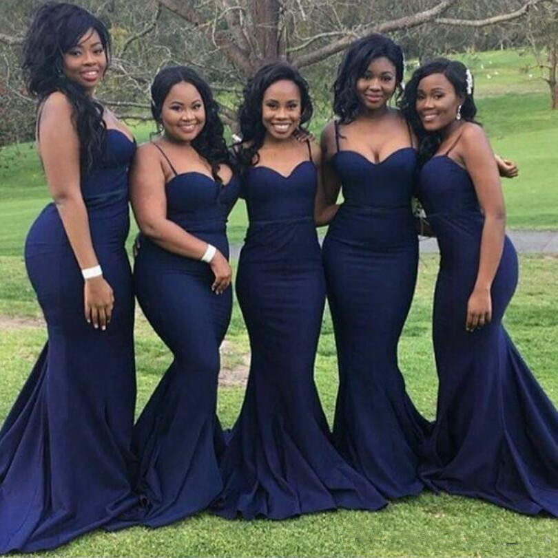 Blue 2019   Bridesmaid     Dresses   For Women Mermaid Spaghetti Straps Backless Long Cheap Under 50 Wedding Party   Dresses
