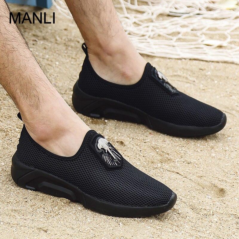 MANLI Men Running Shoes Men Air Mesh Breathable Sneakers Slip-on Run Sports Fitness Training Walking Hombre Zapatillas Cushion