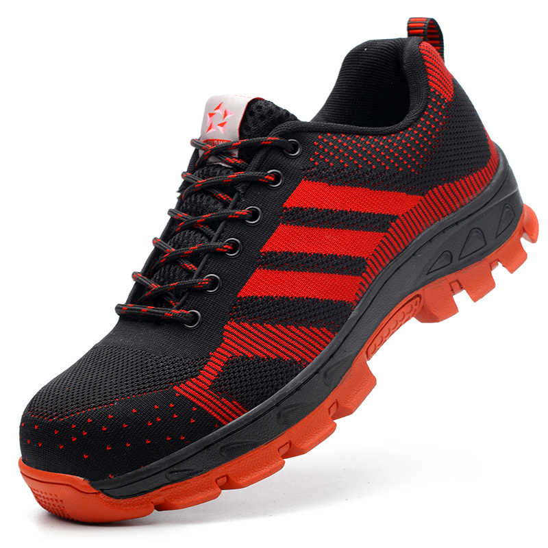 Yeni moda erkekler büyük boy nefes çelik ayakkabı burnu İş güvenliği ayakkabıları anti-pierce işçi ayakkabı takım güvenlik düşük çizmeler erkek