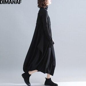 Image 4 - Dimanaf plus size vestido longo feminino grosso inverno senhora vestidos elegantes sem mangas solto casual feminino grandes bolsos vestido irregular
