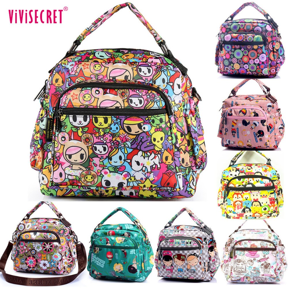 Fashion Women Vivisecret Cartoon Harajuku Printing Waterproof Nylon Small Handbag font b lunch b font shoulder