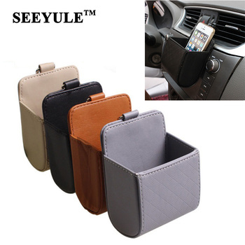 1pc SEEYULE PU Leather Car Air Vent Storage Box with Hook Phone Stuff Holder Durable Stowing Bag Accessories for VW Audi Toyota image