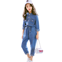 Children's suit denim long sleeved shirt + pants 2 piece set casual girl clothes suit teen teenage girl clothing 6 8 12 years