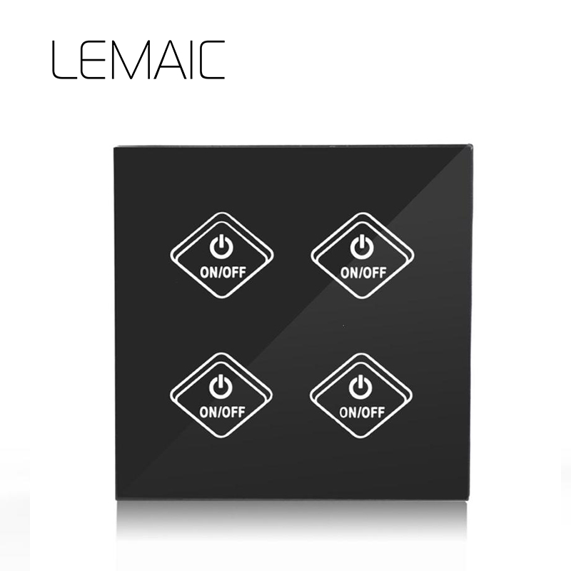 цена на LEMAIC Remote Control Switch EU Standard 1 2 3 Gang 1 Way Wall Touch Screen Light Switch Luxury Glass Switch Panel Smart Home
