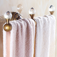 Classical Brass Crystal Towel Bar Bronze Brushed Towel Rack Wall Mounted Bathroom Accessories Single Towel Rail