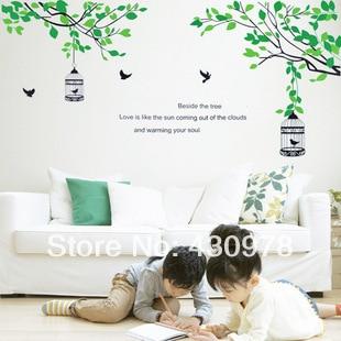 QZ932 Free Shipping 1Pcs Bonsai Green Leaf Branch Bird Birdcage Removable PVC Wall Stickers <font><b>Elegant</b></font> Fancy <font><b>Home</b></font> <font><b>Decoration</b></font> Gift