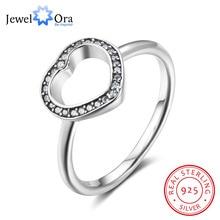 925 anillos de plata esterlina para mujer con forma de corazón, Estilo Vintage, bandas de boda, regalo para el Día de San Valentín (JewelOra RI102821)