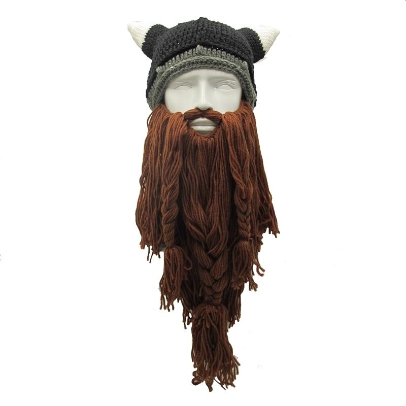 LMFC Drôle Hommes de Chapeaux D'hiver Barbare Vagabond Viking Barbe chapeau Ox Corne À La Main Bonnet En Tricot Chaud Homme Casquettes Fête D'anniversaire cadeaux