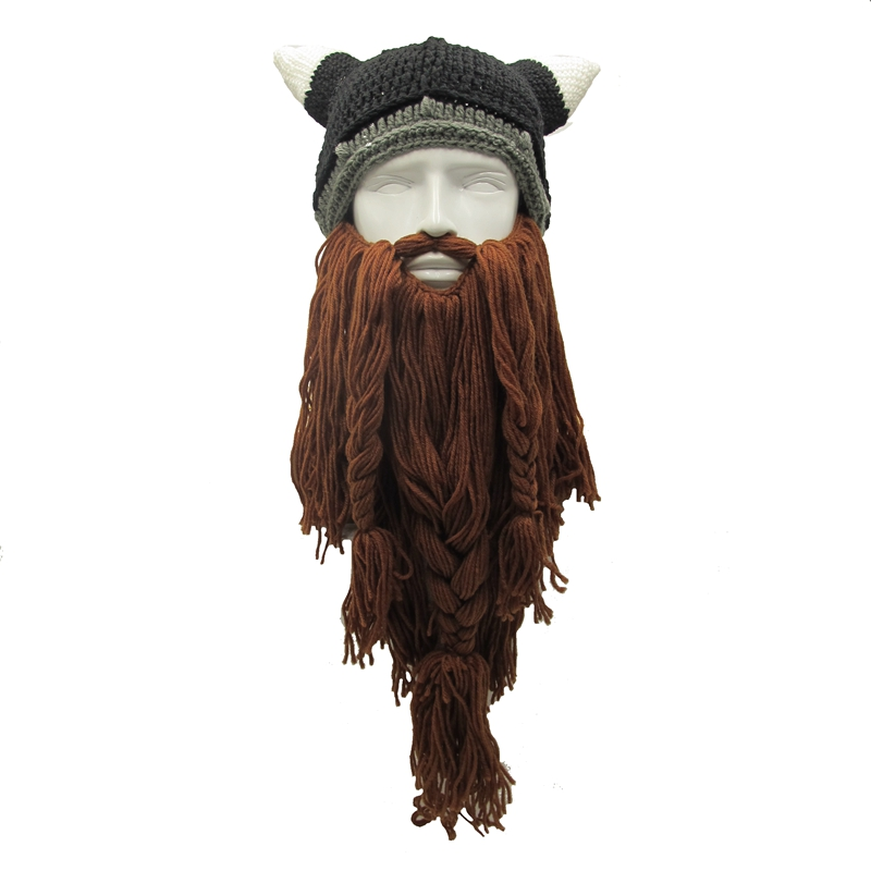 LMFC Funny Men's Winter Hats Barbarian Vagabond Viking Beard hat Ox Horn Handmade Beanie Knit Warm Man Caps Birthday Party Gifts