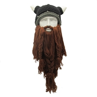 LMFC uomo Divertenti Cappelli Invernali Vagabond Barbaro Viking cappello Barba Corno di bue Handmade Beanie Knit Warm Uomo Cappelli Festa di Compleanno regali