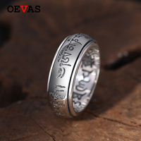 S925 sterling silver male ring Buddhism Six words Auspicious symbol Thai silver rings for men Real 925 Silver Jewelry Wholesale