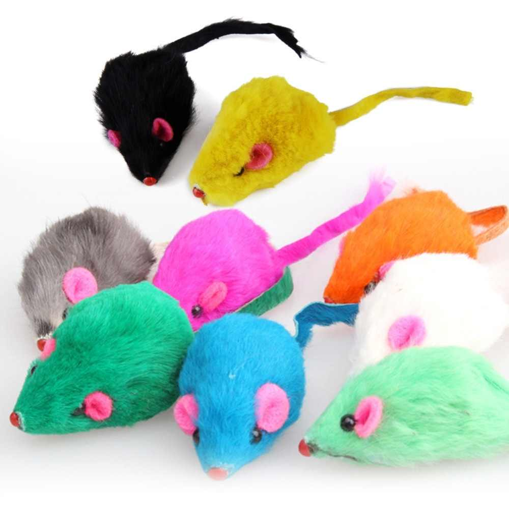 1 Pc Playing Pet Accessories Colorful Interactive  Toy Soft Rabbit Fur Mouse Toy For Cats Lovely Kitten  Mice Toys