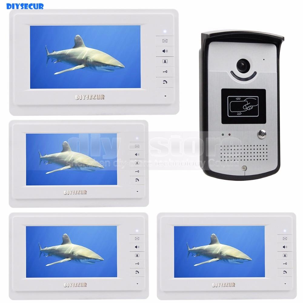 DIYSECUR Wired Video Door Phone Video Intercom System RFID Keyfobs Vandal Proof 7 Inch Monitor 1V4