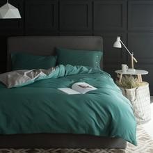 Зеленый сплошной цвет пододеяльник набор с кнопками, 100% Египетского хлопка одеяло обложка/сатин постельное белье/подушка случае, королева король размер