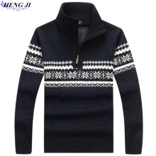 Men's pullover pullovers, thickened and fleeced fleece pullover, straight – tube stripe knit sweater, winter warmth,high quality